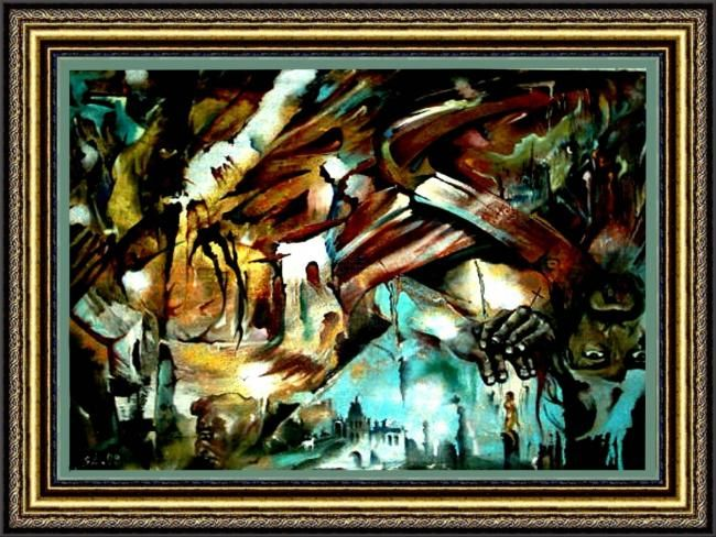 Перевернутый мир. - Painting,  1,300x1,000 cm ©1994 by Schljachow -                            Abstract Art, Холст, масло.