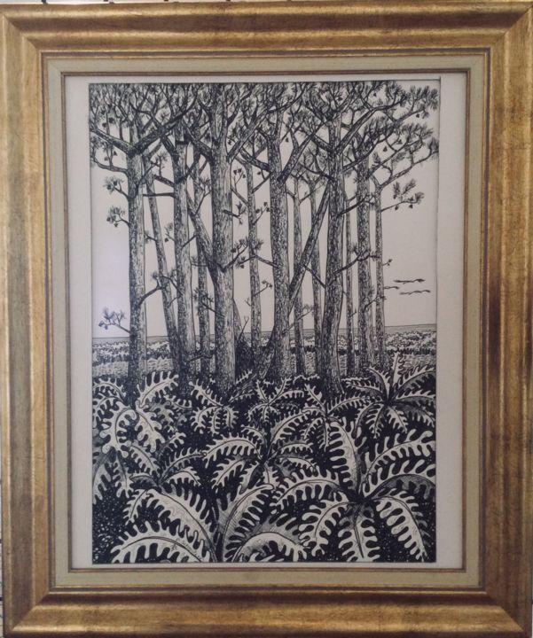Foret des landes 2.jpeg - Drawing,  16.5x11.8x1.6 in, ©2018 by Patricia Schmitzer -
