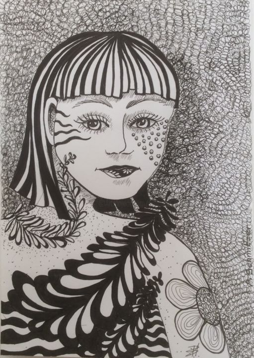 tendresse .jpeg - Drawing,  8.3x5.9 in, ©2017 by Patricia Schmitzer -