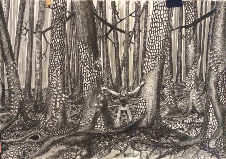 Aime la forêt .jpeg - Drawing,  16.5x23.4 in, ©2018 by Patricia Schmitzer -