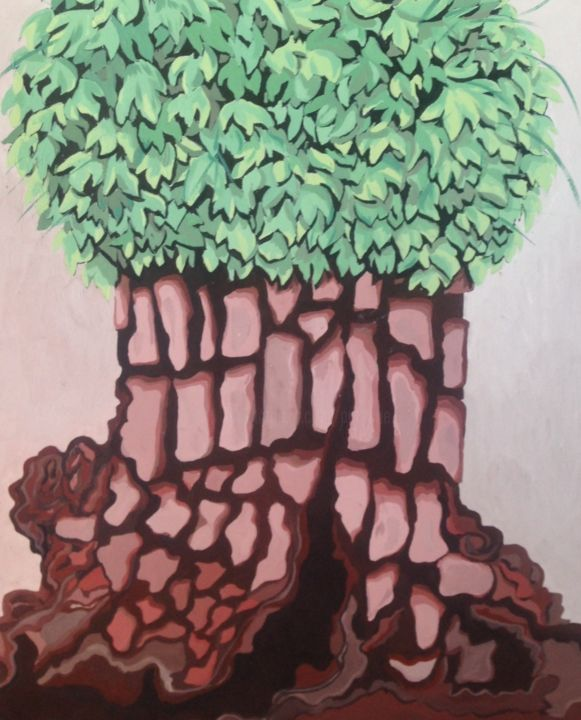 L'original - Painting,  30.7x22.8x0.8 in, ©2019 by Patricia Schmitzer -                                                                                                                                                          Tree, nature, arbres
