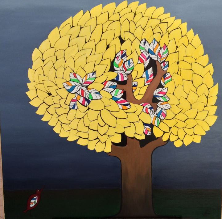 L'arbre jaune - Painting,  39.4x39.4x1.6 in, ©2020 by Patricia Schmitzer -