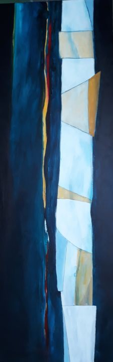 ohne Titel - Painting,  47.2x15.8x0.8 in, ©2020 by Regina Lieder- Schönn -                                                                                                                          Abstract, abstract-570