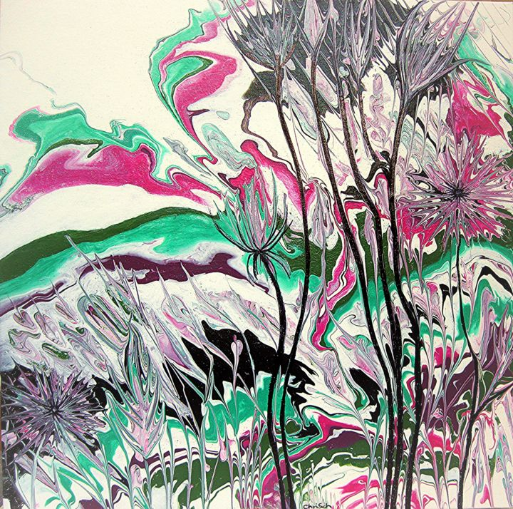 """Painting titled """"Sommer 1"""" by Christa Schwarz, Original Art, Acrylic"""