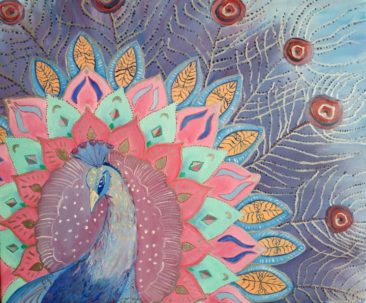 Peacock beautiful bird - Painting,  19.7x27.6x0.6 in, ©2019 by Svitlana Duvanova -                                                                                                                                                                                                                                                                                                                                                                                                                                                                                                                                                                                                                                      Symbolism, symbolism-1020, Time, Birds, peacock, peacock's feathers, royal bird, geometric bird, colour painting, oil painting on canvas, wall decor, tale, feather