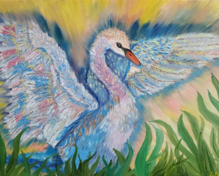 Invisible wings - Painting,  15.8x19.7x0.6 in, ©2019 by Svitlana Duvanova -                                                                                                                                                                                                                                                                                                                                                                                                                                                                                                                                                                                                                                                                                                                              Impressionism, impressionism-603, Birds, Light, swan, oil painting, wedding gift, light, bird painting, bird art, swan lake, swan queen, wings, feathers, blue
