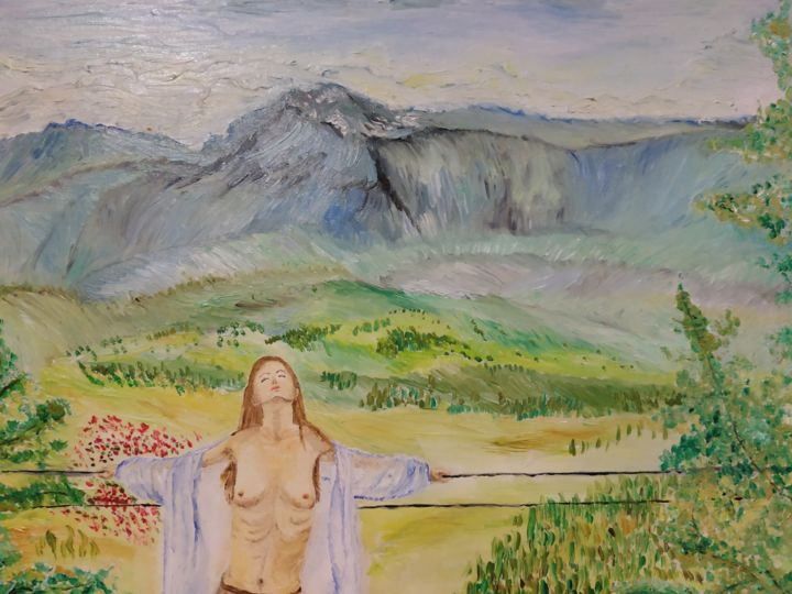 Dirty as an angel - Painting,  11.8x13.8x0.6 in, ©2016 by Svitlana Duvanova -                                                                                                                                                                                                                                                                                                                                                                                                                                                                                                                                                                                                                                                                                                                              Impressionism, impressionism-603, Mountainscape, Women, Nude, female body, beautiful woman, naked woman, mountain, mountains landscape, landscape, woman in cape, oil painting, woman, body