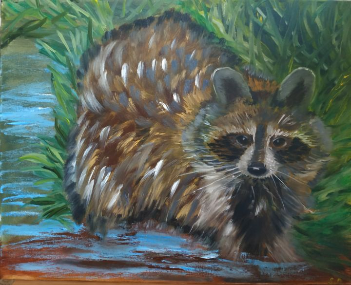 Racoon friend - Painting,  15.8x19.7x0.6 in, ©2019 by Svitlana Duvanova -                                                                                                                                                                                                                                                                                                                                                                                                                                                                                                                                                                                                                                                                                                                              Expressionism, expressionism-591, Animals, Portraits, racoon, wild animals, friend, oil painting, animal art, animal painting, animal, nature, racoons, portrait, racoon lovers