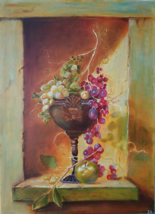 Antique still life - Painting,  27.6x19.7x0.8 in, ©2018 by Svitlana Duvanova -                                                                                                                                                                                                                                                                                                                                                                                                                                                                                                                                                                                          Classicism, classicism-933, Still life, Food & Drink, grapes painting, still life, still life painting vintage, fruits, vine and grapes, wall decor, vintage art, vintage still life