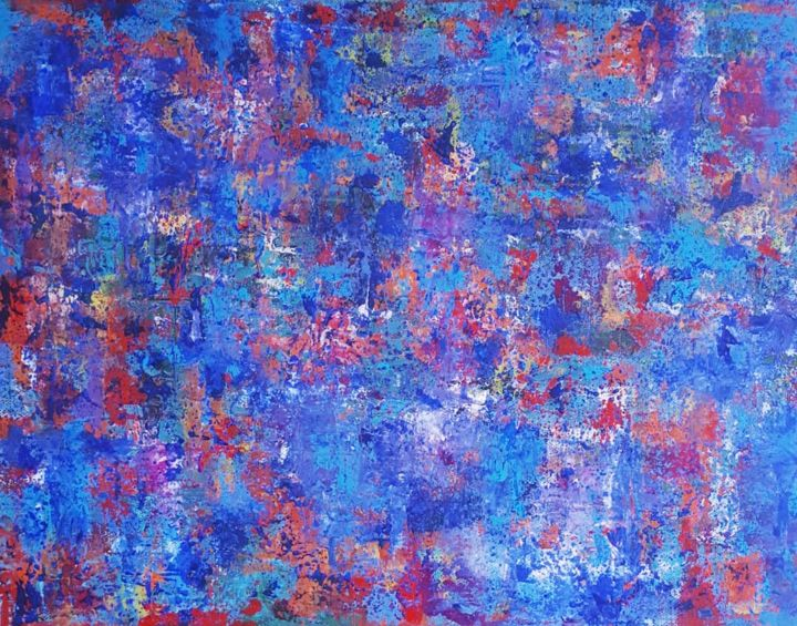 Sans titre 1 - Painting,  11.8x15.8x0.6 in, ©2018 by sylvid -                                                                                                                                                                                                                                                                  Abstract, abstract-570, bleu, couleurs, lumière