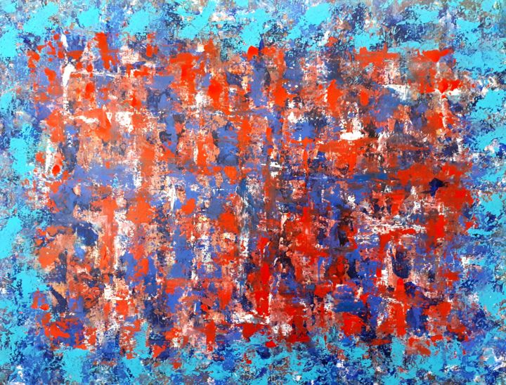 Sans titre 4 - Painting,  19.7x25.6 in, ©2019 by sylvid -                                                                                                                                                                                                                                                                                                                                                                                                                                                                                                                                          Abstract, abstract-570, couleurs, lumière, trame, ligne, expressionnisme abstrait, abstractexpressionism, abstractart, intuitivepainting, éclat