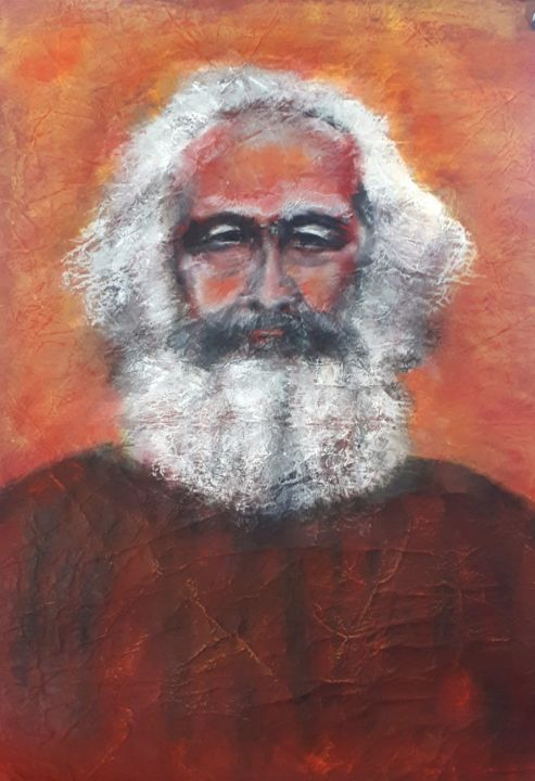 karl M. - Painting,  28.4x18.5 in, ©2015 by sylvid -                                                                                                                                                                                                                                                                                                                                                                                                                                                      Expressionism, expressionism-591, Portraits, barbe, couleurs, regard, gaze, Marx, portrait expressionniste