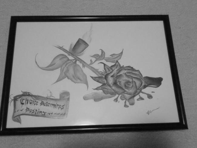 """Drawing titled """"Choice determines d…"""" by Sean Miskell, Original Art,"""