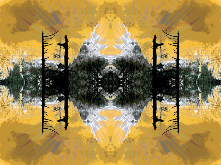 Out in the Cold 5 - © 2017 symmetry, kaliedoscopic, winter, trees, series, digital abstract, modern, contemporary, crystaline, geometric Online Artworks