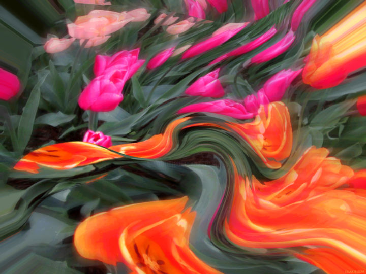 Organic Garden 1 - © 2018 flowers, garden, organic, series, colorful, digital abstract, abstract landscape, color image, modern, contemporary, spring, seasonal Online Artworks
