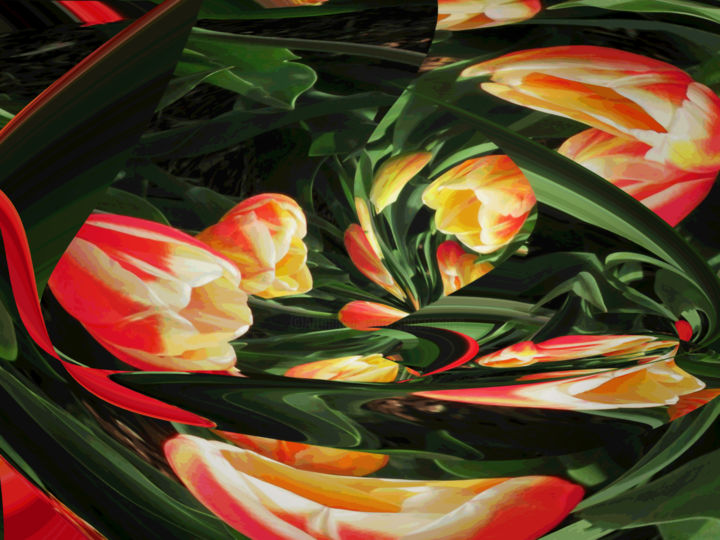 Organic Garden 3 - Digital Arts,  18x24 in ©2018 by Kenneth Grzesik -                                                                                                                                                                                                                                    Abstract Art, Conceptual Art, Modernism, Surrealism, Symbolism, Canvas, Paper, Abstract Art, Botanic, Colors, Flower, Garden, Landscape, Light, Nature, Places, Seasons, digital abstract, series, tulips, organic, modern, contemporary, flowers, floral, vector print