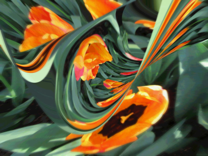 Organic Garden 16 - Digital Arts,  18 in ©2018 by Kenneth Grzesik -                                                                                                                                                                                                                                                Abstract Art, Conceptual Art, Modernism, Surrealism, Symbolism, Canvas, Paper, Abstract Art, Botanic, Colors, Flower, Garden, Landscape, Light, Nature, Places, Seasons, Time, digital abstract, series, nature image, color image, digital image, modern, contemporary, organic abstract, colorful, tulips