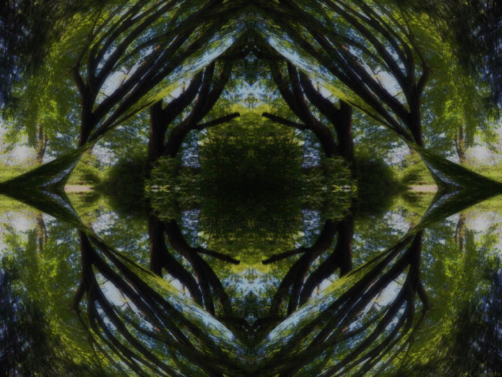 Forest Abstract 6 - © 2018 digital abstract, abstract landscape, modern, contemporary, series, ambient, symmetry, kaliedoscopic, forest, harmony, balance, naturalism Online Artworks
