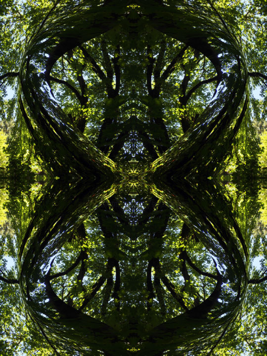 Forest Abstract 36 - Digital Arts,  24x18 in ©2018 by Kenneth Grzesik -                                                                                                                                                                                                                                                Abstract Art, Conceptual Art, Modernism, Surrealism, Symbolism, Canvas, Paper, Abstract Art, Botanic, Colors, Geometric, Landscape, Light, Nature, Patterns, Places, Seasons, Tree, digital abstract, modern art, contemporary art, abstract landscape, symmetry, symmetrical art, kaliedoscopic art, color image, abstract nature art, image series