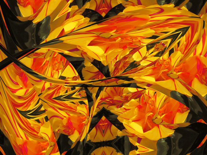 Rhythmic Garden 3 - Digital Arts,  24x32 in ©2019 by Kenneth Grzesik -                                                                                                                                                                                                                                                                                                Abstract Art, Abstract Expressionism, Conceptual Art, Expressionism, Modernism, Surrealism, Symbolism, Canvas, Other, Paper, Abstract Art, Botanic, Colors, Flower, Garden, Landscape, Light, Nature, Patterns, Places, Seasons, Time, digital abstract, modern, contemporary, kaleidoscopic, series, floral, horizontal, color image, colorful, organic, flowers, colors, spring, seasonal