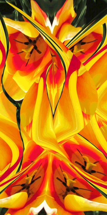 Rhythmic Garden 5 - Digital Arts,  36x18 in ©2019 by Kenneth Grzesik -                                                                                                                                                                                                                                                                        Abstract Art, Conceptual Art, Modernism, Surrealism, Symbolism, Canvas, Other, Paper, Abstract Art, Botanic, Colors, Flower, Garden, Geometric, Landscape, Light, Nature, Patterns, Places, Seasons, digital abstract, series, floral, yellow, flowers, modern, contemporary, vector print, organic, kaleidoscopic, spring