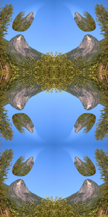 Forest Abstract 79 - Digital Arts, ©2019 by Kenneth Grzesik -                                                                                                                                                                                                                                                                                                                                                                                                                                                                                                                                                                                                                                                                                                                                                                                                                      Surrealism, surrealism-627, Landscape, digital abstract, abstract landscape, modern, contemporary, icon, iconic, mountain, sky, reflection, symmetry, symmetrical, series, blue, nature