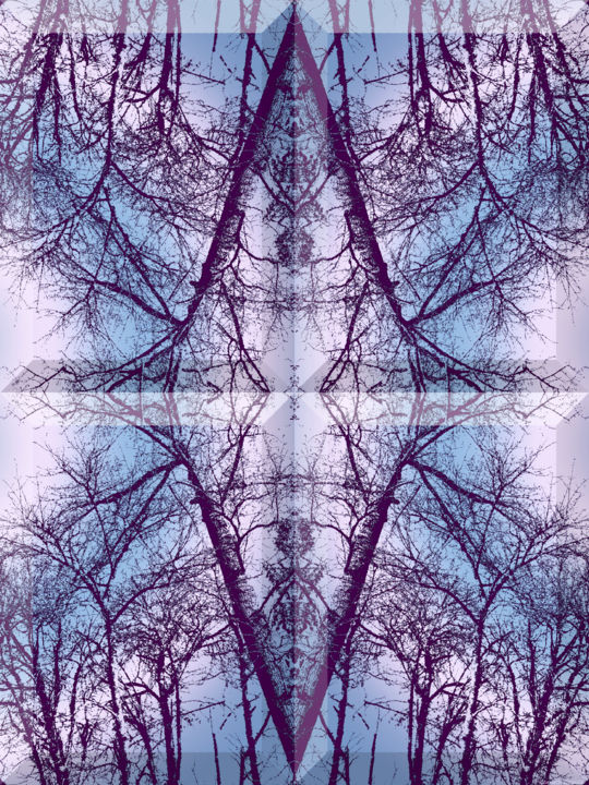 Wintry Forest 1 - Digital Arts, ©2020 by Kenneth Grzesik -                                                                                                                                                                                                                                                                                                                                                                                                                                                                                                                                                                                                                                                                                                                                                                                                                                                                                                          Abstract, abstract-570, geometric, digital abstract, nature, winter, trees, forest, symmetry, symmetrical, kaleidoscopic, modern image, contemporary art, environment, series, blue, vector, photoshop, manipulated image