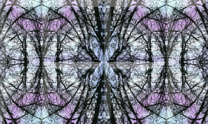 Wintry Forest 2 - Digital Arts, ©2020 by Kenneth Grzesik -                                                                                                                                                                                                                                                                                                                                                                                                                                                                                                                                                                                                                                                                                                                                                                                                                                                                                                                                                                                                  Abstract, abstract-570, digital abstract, abstract landscape, modern, contemporary, forest, winter forest, winter, winter landscape, landscape, nature, geometry, symmetry, symmetrical, horizontal, kaleidoscope, kaleidoscopic, color image, series, vector