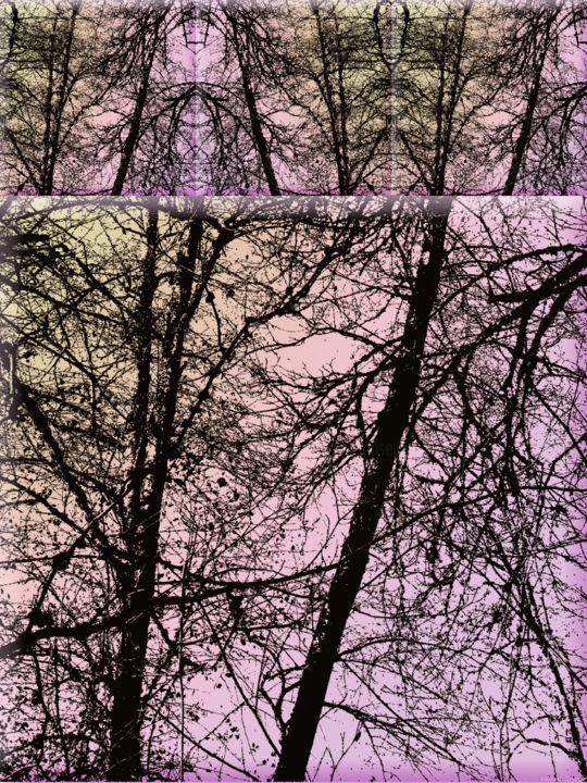Wintry Forest 7 - Digital Arts, ©2016 by Kenneth Grzesik -                                                                                                                                                                                                                                                                                                                                                                                                                                                                                                                                                                                                                                                                                                                                                                                                                                                              Abstract, abstract-570, digital abstract, series, trees, geometry, geometric, symmetry, kaleidoscopic, vector, modern art, contemporary art, nature, environment, time, memory, color image, forest