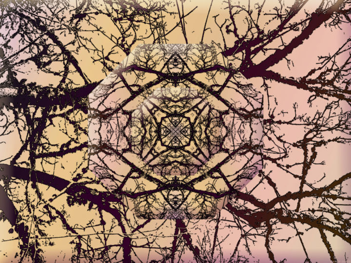 Wintry Forest 8 - Digital Arts, ©2020 by Kenneth Grzesik -                                                                                                                                                                                                                                                                                                                                                                                                                                                                                                                                                                                                                                                                                                                                                                                                                                                                                                          Abstract, abstract-570, digital abstract, series, winter, forest, tree, colorful, color image, nature, symmetry, kaleidoscopic, contemporary art, modern art, environment, geometry, geometric, horizontal, spectral