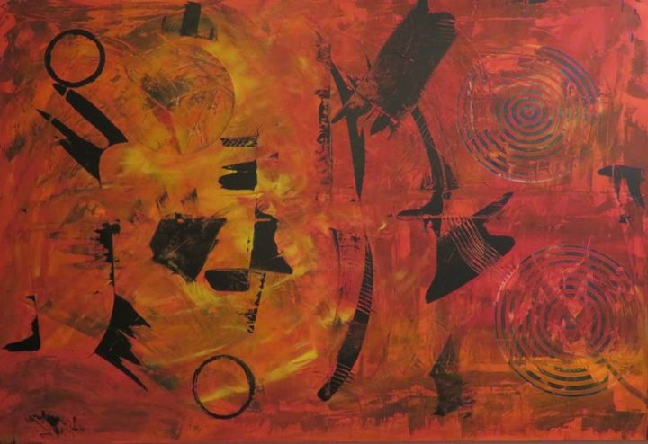 """Painting titled """"Influences Aztèques"""" by Art'Tino, Original Art, Acrylic Mounted on Stretcher frame"""