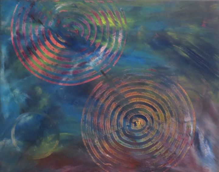 """Painting titled """"Sphère spatiale"""" by Art'Tino, Original Art, Acrylic Mounted on Stretcher frame"""