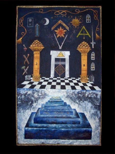 Board II of Lodge Sept Piliers - Painting,  43.3x35.4 in, ©2001 by Ferenc Sebök -