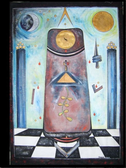 Board of Lodge St Charles of Perfect Harmony - Painting,  47.2x35.4 in, ©2007 by Ferenc Sebök -