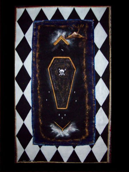 Master Board Lodge Sept Piliers - Painting,  47.2x35.4 in, ©2001 by Ferenc Sebök -