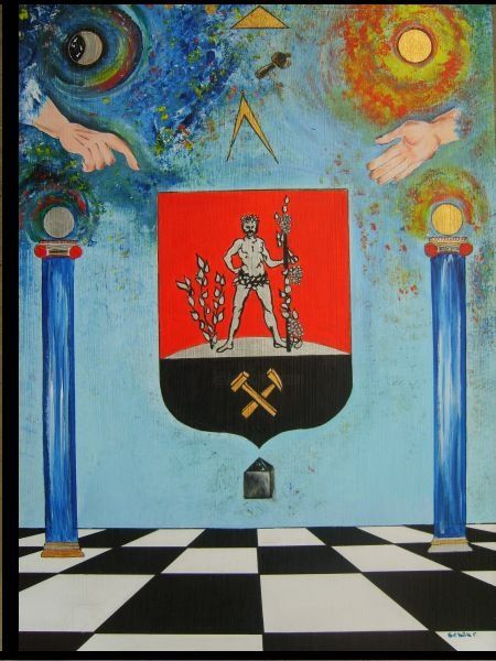 symbolic armorial bearing of Komlo city - Painting,  39.4x27.6 in, ©2007 by Ferenc Sebök -