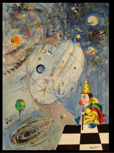 Travel of Hiram vision III - Painting,  16.5x12.6 in, ©2004 by Ferenc Sebök -