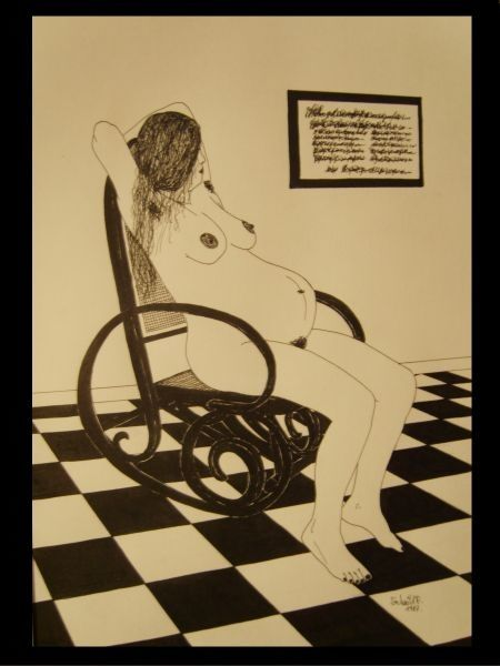 Woman on her rocking chair - Painting,  14.2x10.6x0.4 in, ©1987 by Ferenc Sebök -