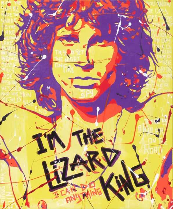 LIZARD KING - Painting,  23.6x19.7x0.8 in, ©2018 by Secam -                                                                                                                                                                                                                                                                                                                                                                                                          Pop Art, pop-art-615, artwork_cat.Pop Culture / Celebrity, Music, popart, streeart, urbanart, jimmorrison
