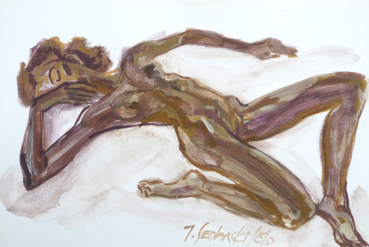 Etude de Nue - Drawing,  8.7x12.6 in, ©2010 by Jivko Sedlarski -