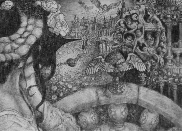 День Фаберже - Drawing,  21x30 cm ©2012 by Александр Журавлёв -                            Black and White, Фентези, сюрреализм.