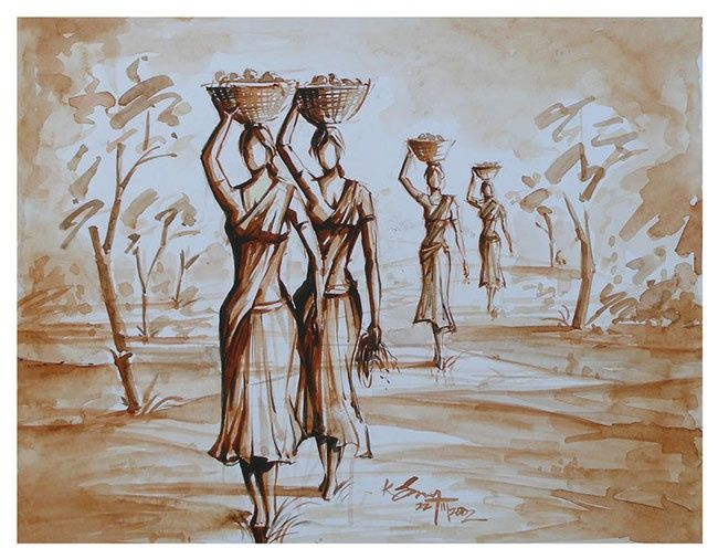 Indian Village women - Painting,  10x13 cm ©2002 by selva -
