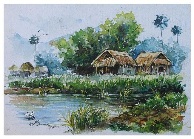 Village near water - Painting,  10x13 in ©2001 by selva -