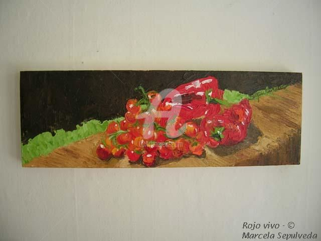 Rojo vivo - Painting,  60x20 cm ©2004 by Marcela -
