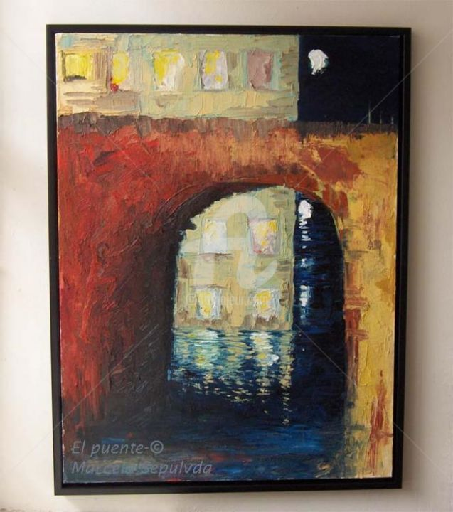 El Puente - Painting,  60x80 cm ©2005 by Marcela -