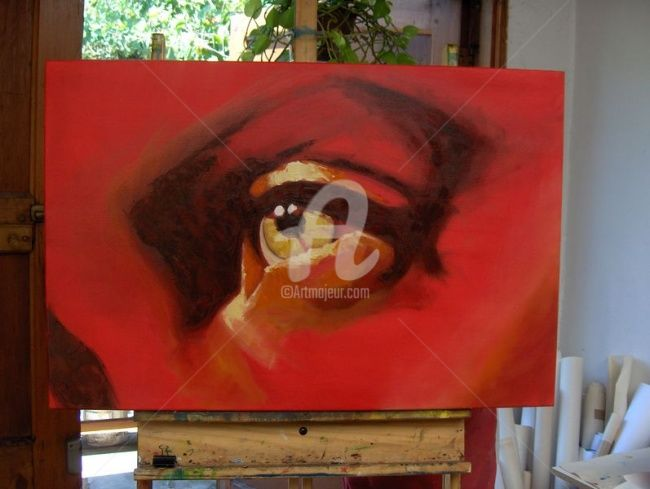 Eyes in red - Painting,  60x90 cm ©2008 by Marcela -            eyes