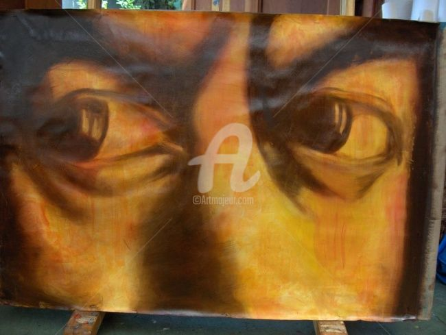 Eyes - Painting,  95x65 cm ©2008 by Marcela -