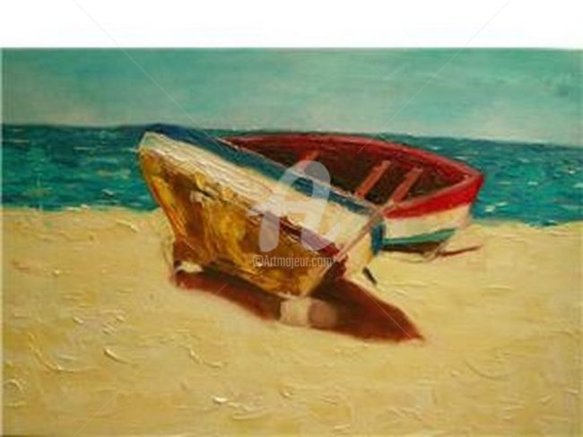 Bote II - Painting,  40x60 cm ©2008 by Marcela -