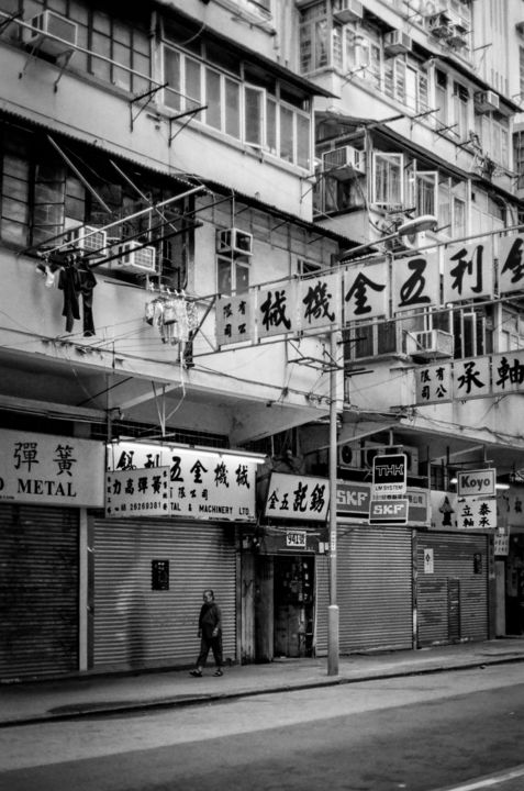 My Street II - Signed Limited Edition - Photography,  23.6x15.8x0.2 in ©2015 by Serge Horta -                                                                                                                                Documentary, Portraiture, Realism, Street Art (Urban Art), Architecture, Black and White, Cities, People, Women, cities, people, black and white, retro, vintage, old, hong kong, photography, documentary, places, street, signs, architecture, shadows, noir, abstract, asia, China
