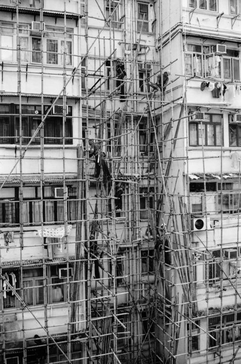 """Photography titled """"Building a Bamboo S…"""" by Serge Horta, Original Art, Analog photography"""